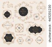 vintage floral set monogram... | Shutterstock .eps vector #465201230