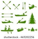 Canoe Silhouettes. Rafting....