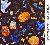 seamless pattern with pumpkin... | Shutterstock . vector #465210836