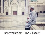muslim people praying with...   Shutterstock . vector #465215504