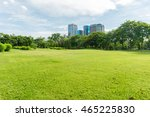 green grass field in park at... | Shutterstock . vector #465225830