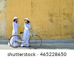 beautiful  woman with vietnam... | Shutterstock . vector #465228650
