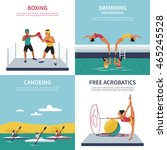 set of illustrations on boxing  ... | Shutterstock .eps vector #465245528