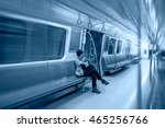 Casual Woman In Subway Train A...