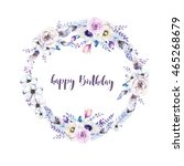 watercolor floral wreath.... | Shutterstock . vector #465268679