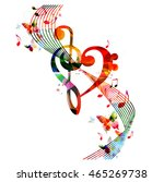colorful g clef heart with... | Shutterstock .eps vector #465269738