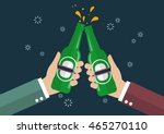 two businessmen toasting bottle ... | Shutterstock .eps vector #465270110