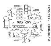 thin line flat design rural... | Shutterstock .eps vector #465270263
