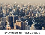 map pin flat above city scape... | Shutterstock . vector #465284078