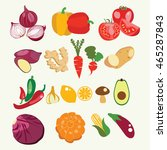 vector set of fresh and healthy ... | Shutterstock .eps vector #465287843