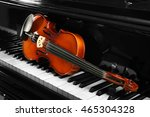 Violin On Piano Keys  Closeup