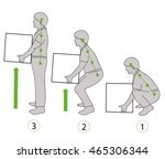 correct posture to lift a heavy ... | Shutterstock .eps vector #465306344