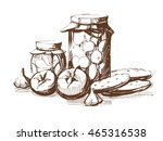 jar of canned cucumbers and... | Shutterstock .eps vector #465316538