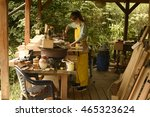 young girl worker in a... | Shutterstock . vector #465323624