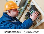 electrician connecting... | Shutterstock . vector #465323924