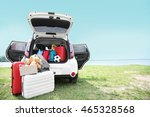 Car Trunk With Luggage. Travel...