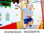 cute blonde toddler boy having... | Shutterstock . vector #465330974
