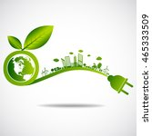 ecology green city save earth... | Shutterstock .eps vector #465333509