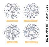 set of doodle line vector... | Shutterstock .eps vector #465347213
