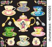 fancy victorian style tea... | Shutterstock .eps vector #46535005
