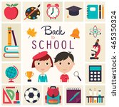 back to school elements set. a... | Shutterstock .eps vector #465350324