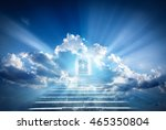 doors to paradise. the concept... | Shutterstock . vector #465350804