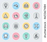 travel flat contour icons on... | Shutterstock .eps vector #465367484