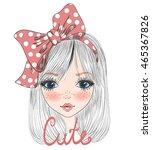 hand drawn beautiful cute girl... | Shutterstock .eps vector #465367826