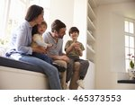 family sitting on window seat... | Shutterstock . vector #465373553