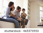 family sitting on window seat... | Shutterstock . vector #465373553
