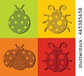 ladybug icons on color... | Shutterstock .eps vector #465385658