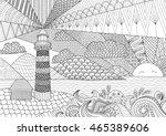 Seascape Line Art Design For...