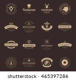 vintage restaurant logos design ... | Shutterstock .eps vector #465397286
