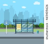 bus stop with city background....   Shutterstock .eps vector #465405626
