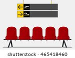 red airport seat in waiting... | Shutterstock .eps vector #465418460