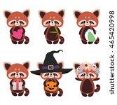 Set Of Cute Red Pandas