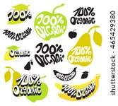 100  organic label  natural... | Shutterstock .eps vector #465429380