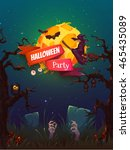 halloween party poster with... | Shutterstock .eps vector #465435089