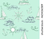nautical seamless pattern with... | Shutterstock .eps vector #465436589