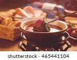 chocolate fondue with oven on... | Shutterstock . vector #465441104
