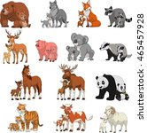 Stock vector vector illustration set of funny exotic animals children and parents 465457928