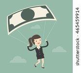 businesswoman using bank note... | Shutterstock .eps vector #465459914