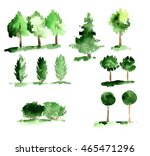 set of abstract trees with... | Shutterstock . vector #465471296