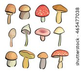 isolated mushrooms set  manual... | Shutterstock .eps vector #465477038