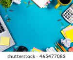 office table desk with set of... | Shutterstock . vector #465477083