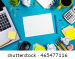 office table desk with set of... | Shutterstock . vector #465477116