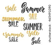 summer sale   hand drawn golden ... | Shutterstock .eps vector #465491090