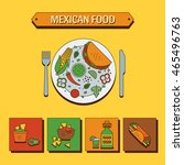 vector set of mexican food in a ... | Shutterstock .eps vector #465496763