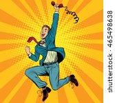 joyful retro man with a handset ... | Shutterstock .eps vector #465498638