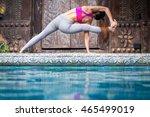 asia woman doing yoga fitness... | Shutterstock . vector #465499019